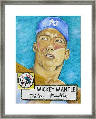 1952 Mickey Mantle Rookie Card Original Painting Framed Print
