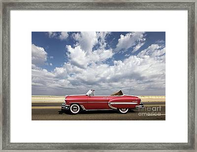 1953 Chevy Bel Air Convertible, Mixed Media, Louis Vuitton Steamer Trunk  Framed Print