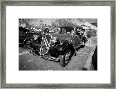 Framed Print featuring the photograph 1953 Citroen Traction Avant Bw by Rich Franco