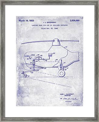 1953 Helicopter Patent Blueprint Framed Print