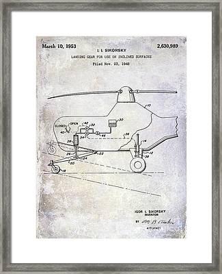 1953 Helicopter Patent Framed Print by Jon Neidert