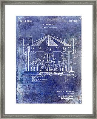1953 Toy Merry Go Round Patent Blue Framed Print