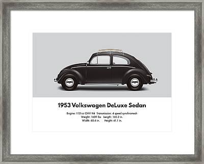 1953 Volkswagen Sedan - Black Framed Print