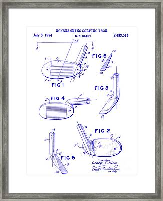 1954 Nonshanking Golf Club Patent Blueprint Framed Print by Jon Neidert