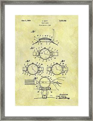 1954 Watch Patent Framed Print by Dan Sproul