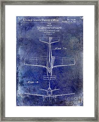 1955  Airplane Patent Drawing 2 Blue Framed Print