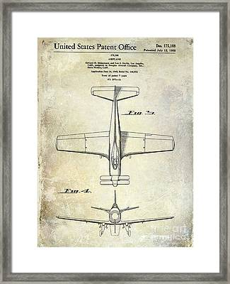 1955  Airplane Patent Drawing 2 Framed Print