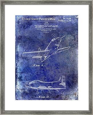 1955  Airplane Patent Drawing Blue Framed Print