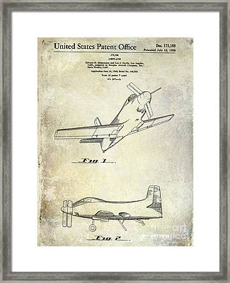 1955  Airplane Patent Drawing Framed Print