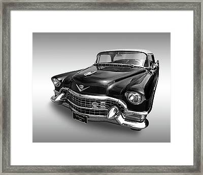 Framed Print featuring the photograph 1955 Cadillac Black And White by Gill Billington