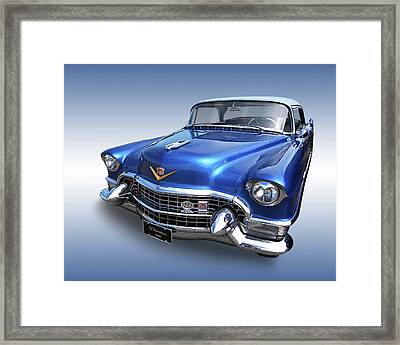 Framed Print featuring the photograph 1955 Cadillac Blue by Gill Billington