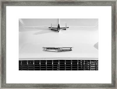 1955 Chevrolet Bel Air Hood Ornament - Emblem -0066bw Framed Print