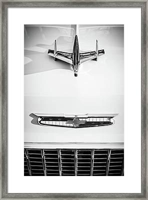 1955 Chevrolet Bel Air Hood Ornament - Emblem -0067bw Framed Print