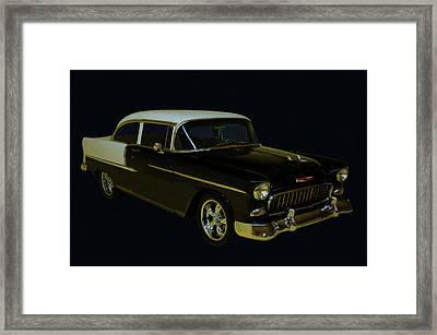 1955 Chevy Bel Air Black Digital Oil Framed Print