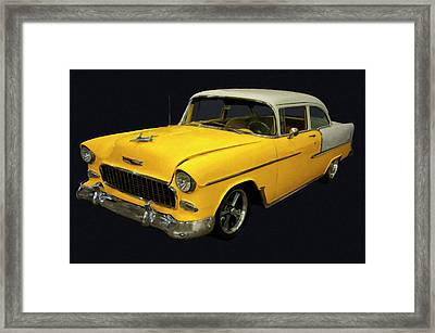 1955 Chevy Bel Air Yellow Digital Oil Framed Print