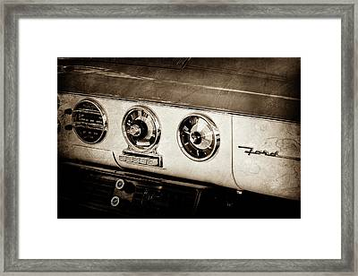 Framed Print featuring the photograph 1955 Ford Fairlane Dashboard Emblem -0444s by Jill Reger