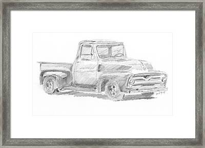 1955 Ford Pickup Sketch Framed Print