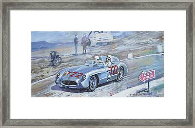 1955 Mercedes Benz 300 Slr Moss Jenkinson Winner Mille Miglia 01-02 Framed Print by Yuriy Shevchuk