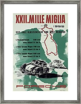 1955 Mille Miglia Porsche Poster Framed Print by Georgia Fowler