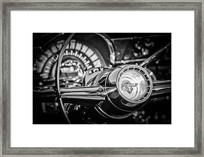 1955 Pontiac Star Chief Steering Wheel Emblem -0103bw Framed Print