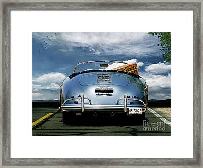 1955 Porsche, 356a, 1600 Speedster, Aquamarin Blue Metallic, Louis Vuitton Classic Steamer Trunk Framed Print by Thomas Pollart