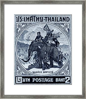 1955 Thailand War Elephant Stamp Framed Print by Historic Image