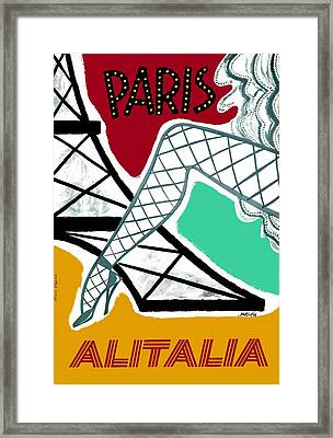 1956 Alitalia Paris Travel Poster Framed Print