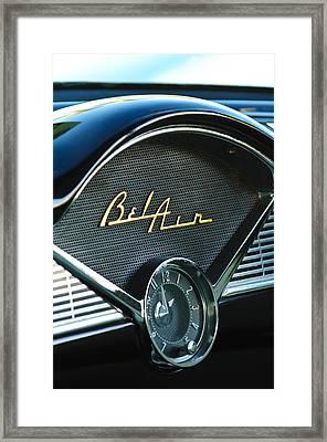 1956 Chevrolet Belair Dashboard Clock Framed Print by Jill Reger