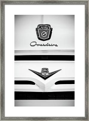 1956 Ford F-100 Truck Grille Emblem -0196bw Framed Print by Jill Reger
