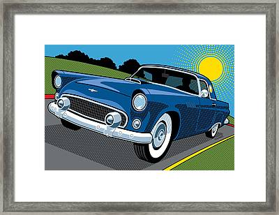 Framed Print featuring the digital art 1956 Ford Thunderbird Sunday Cruise by Ron Magnes