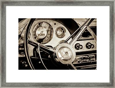 Framed Print featuring the photograph 1956 Ford Victoria Steering Wheel -0461s by Jill Reger