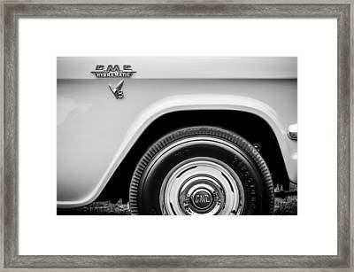 1956 Gmc 100 Deluxe Edition Pickup Truck  Side And Wheel Emblems -1498bw Framed Print by Jill Reger