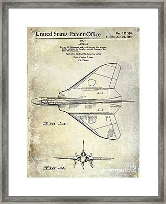 1956 Jet Airplane Patent 2 Blue Framed Print