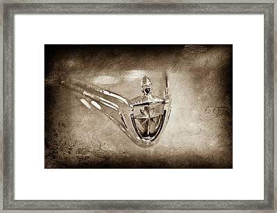 Framed Print featuring the photograph 1956 Lincoln Premier Convertible Hood Ornament -0832s by Jill Reger