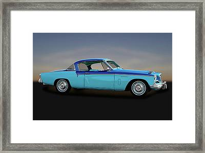 Framed Print featuring the photograph 1956 Studebaker Sky Hawk Coupe  -  1956studebakerskyhawk170517 by Frank J Benz