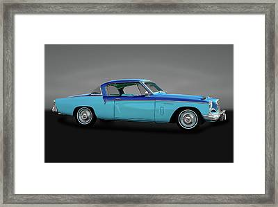 Framed Print featuring the photograph 1956 Studebaker Sky Hawk Coupe  -  1956studebakerskyhawkgry170517 by Frank J Benz