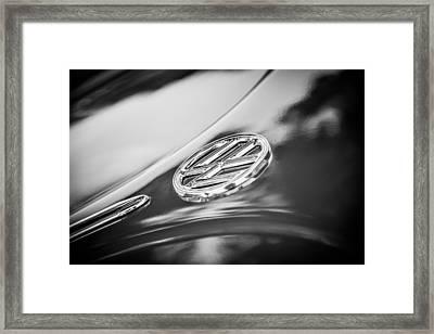 1956 Volkswagen Vw Beetle Emblem -0926bw Framed Print by Jill Reger