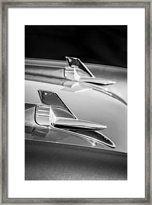 1957 Chevrolet Bel Air Hood Ornaments -114bw Framed Print