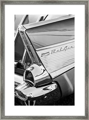 1957 Chevrolet Bel Air Tail Light Emblem -0140bw Framed Print