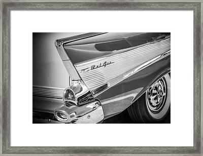 1957 Chevrolet Bel Air Tail Light Emblem -1010bw Framed Print