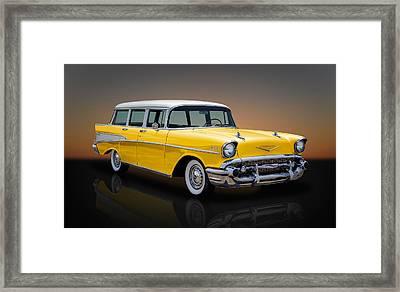 1957 Chevrolet Bel Air Townsman - Golden Yellow Framed Print by Frank J Benz