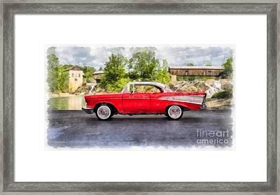 1957 Chevrolet Bel Air Watercolor Framed Print