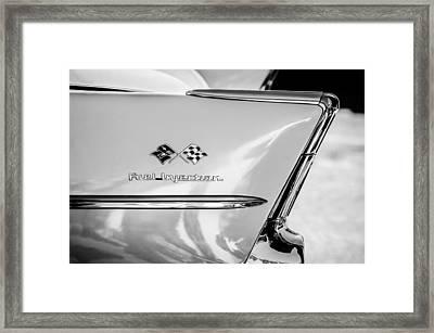 1957 Chevrolet Belair Fuel Injection Emblem -157bw1 Framed Print