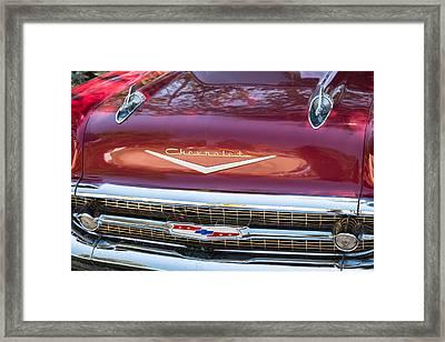 1957 Chevrolet Burgundy Bel Air Front Close-up Framed Print