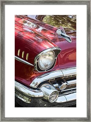 1957 Chevrolet Burgundy Bel Air Headlight Portrait Framed Print by James BO  Insogna