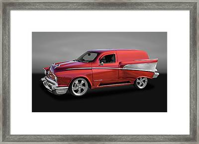1957 Chevrolet Custom Delivery Wagon  -  57cuschgry9634 Framed Print by Frank J Benz
