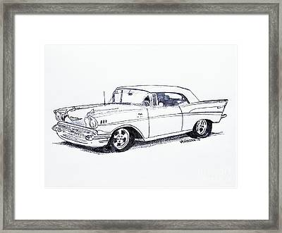1957 Chevy Bel Air - Graphite Pencil Framed Print