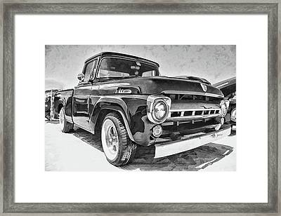 1957 Ford F100 In Black And White Framed Print
