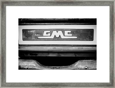 1957 Gmc Pickup Truck Tail Gate Emblem -0272bw1 Framed Print by Jill Reger
