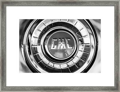 1957 Gmc Pickup Truck Wheel Emblem -0272bw Framed Print by Jill Reger